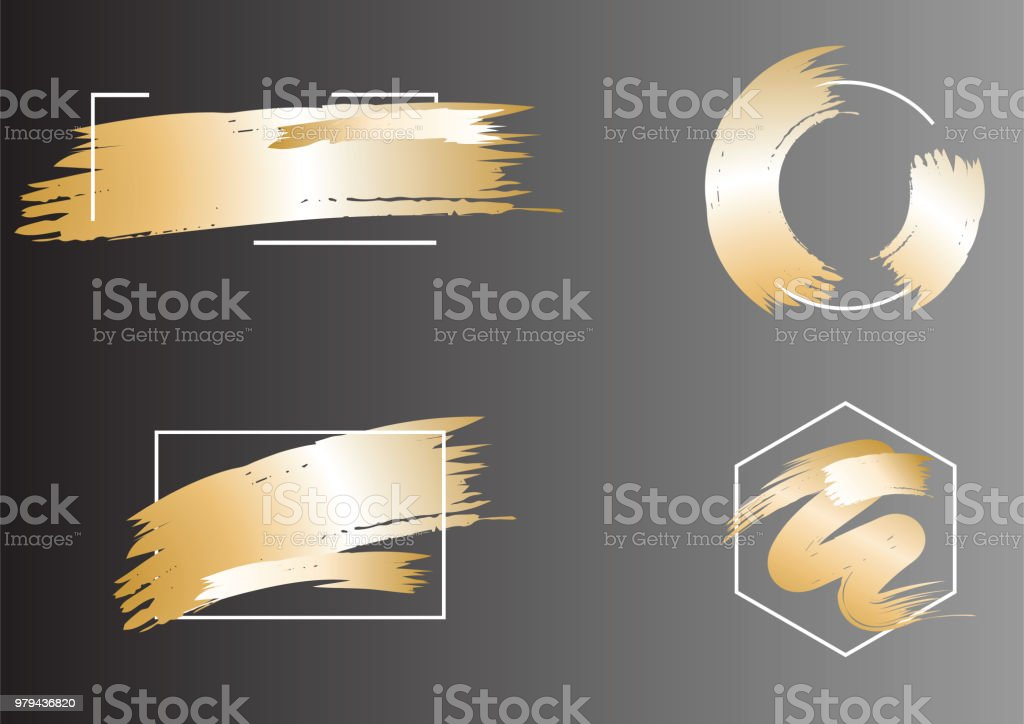 d58c3fb52b02 Set Of Brush Strokes Frame In Golden Tonesabstract Vector Shiny Gold ...