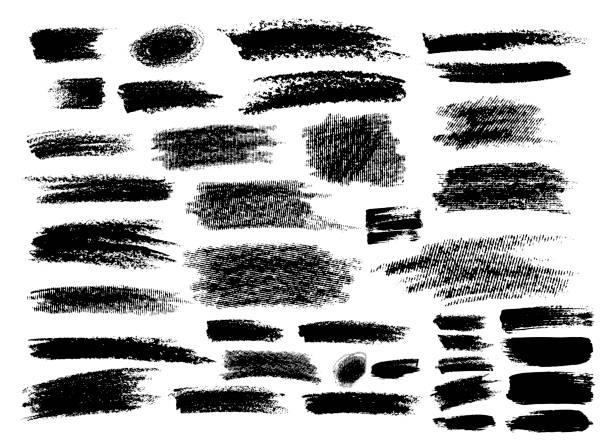 ●手描きベクトルイラストのブラシストロークのセット。白い背景に隔離されています。 - ブラシ点のイラスト素材/クリップアート素材/マンガ素材/アイコン素材