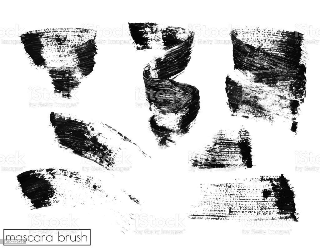 Set of brush strokes mascara. Grunge black artistic paintbrush vector art illustration