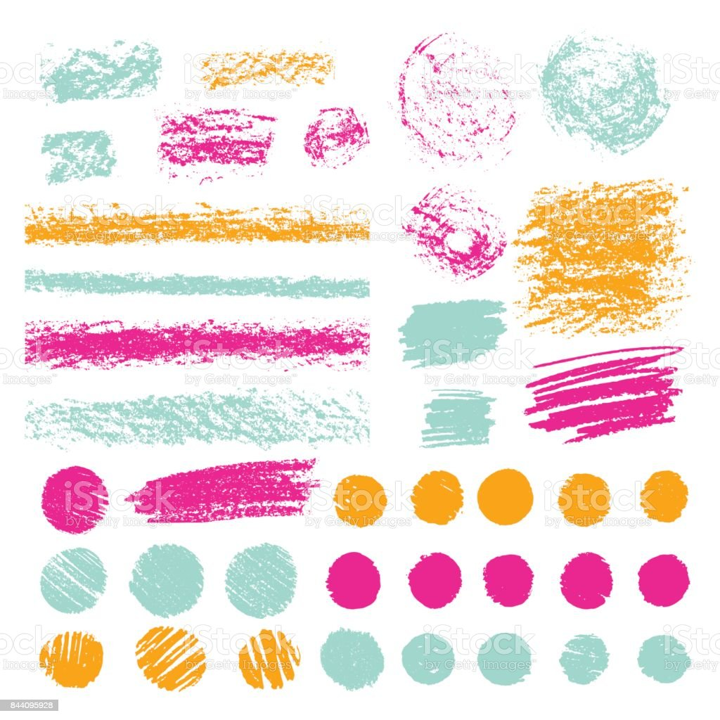 Set of brush strokes of pencil or pastel. Doodle with crayons. Hand drawn illustration. vector art illustration