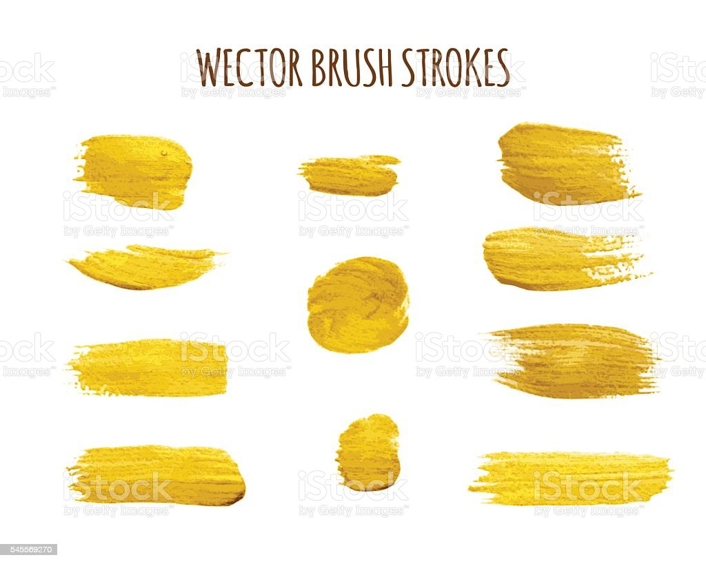 Set of brush strokes vector art illustration