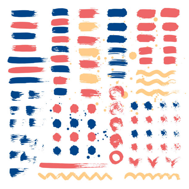satz von pinselstrichen. vektor-illustration. - pastellhosen stock-grafiken, -clipart, -cartoons und -symbole