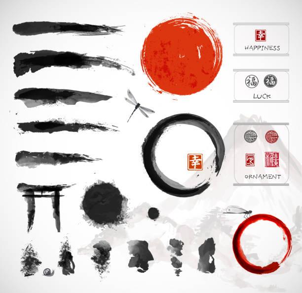 satz von pinsel und andere design-elemente, - asien stock-grafiken, -clipart, -cartoons und -symbole