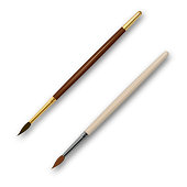 A set of brushes for drawing. The tool for the artist. Realistic objects with a shadow on the isolated white background.3D. Elements for design. Vector illustration.