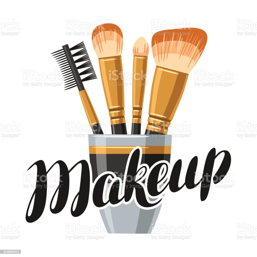 Set of brushes for make up. Illustration of object on white background in flat design style vector art illustration