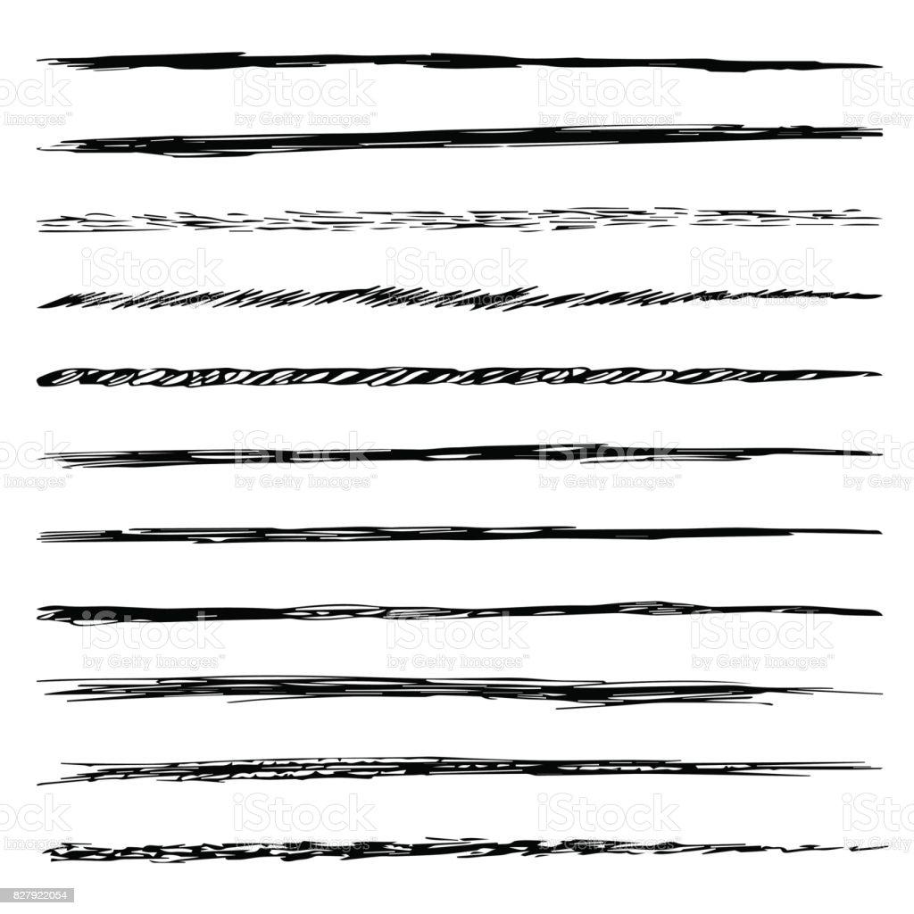 Set of brushes isolated on white background vector art illustration