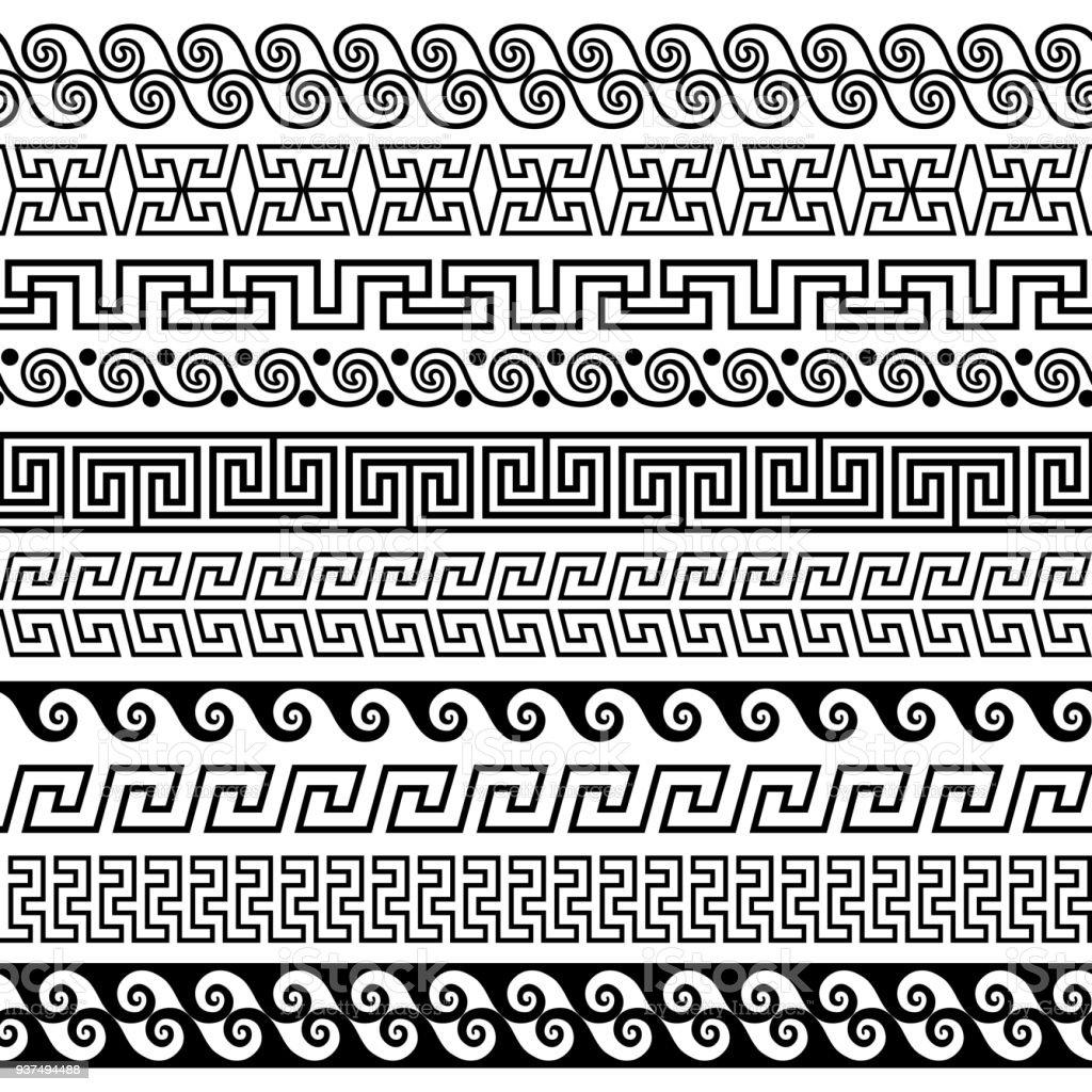 Set of brushes to create the Greek Meander patterns vector art illustration