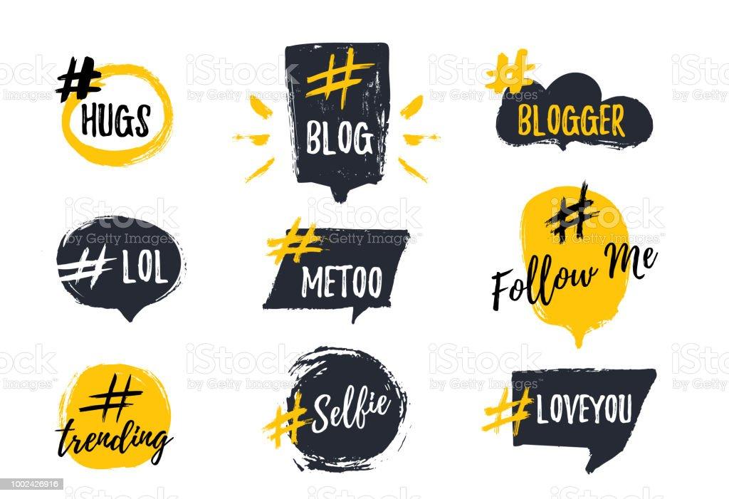 Set of bubbl banners with hashtags. trendy young slang words. Vector illustration set of bubbl banners with hashtags trendy young slang words vector illustration - immagini vettoriali stock e altre immagini di alla moda royalty-free