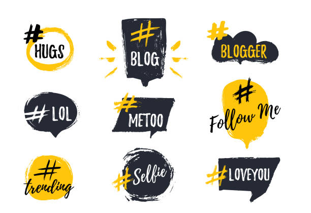 stockillustraties, clipart, cartoons en iconen met set van bubbl banners met hashtags. trendy jonge slang woorden. vectorillustratie - talking