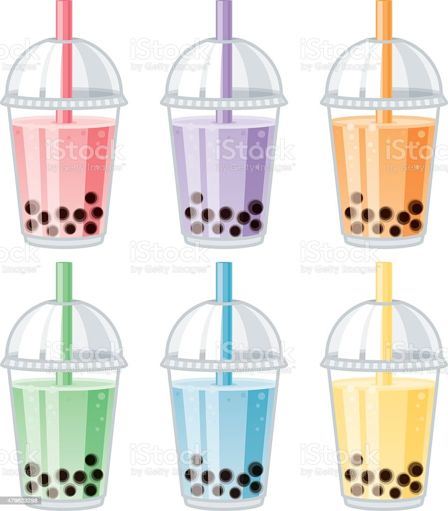 Set of Bubble Tea Flavors vector art illustration