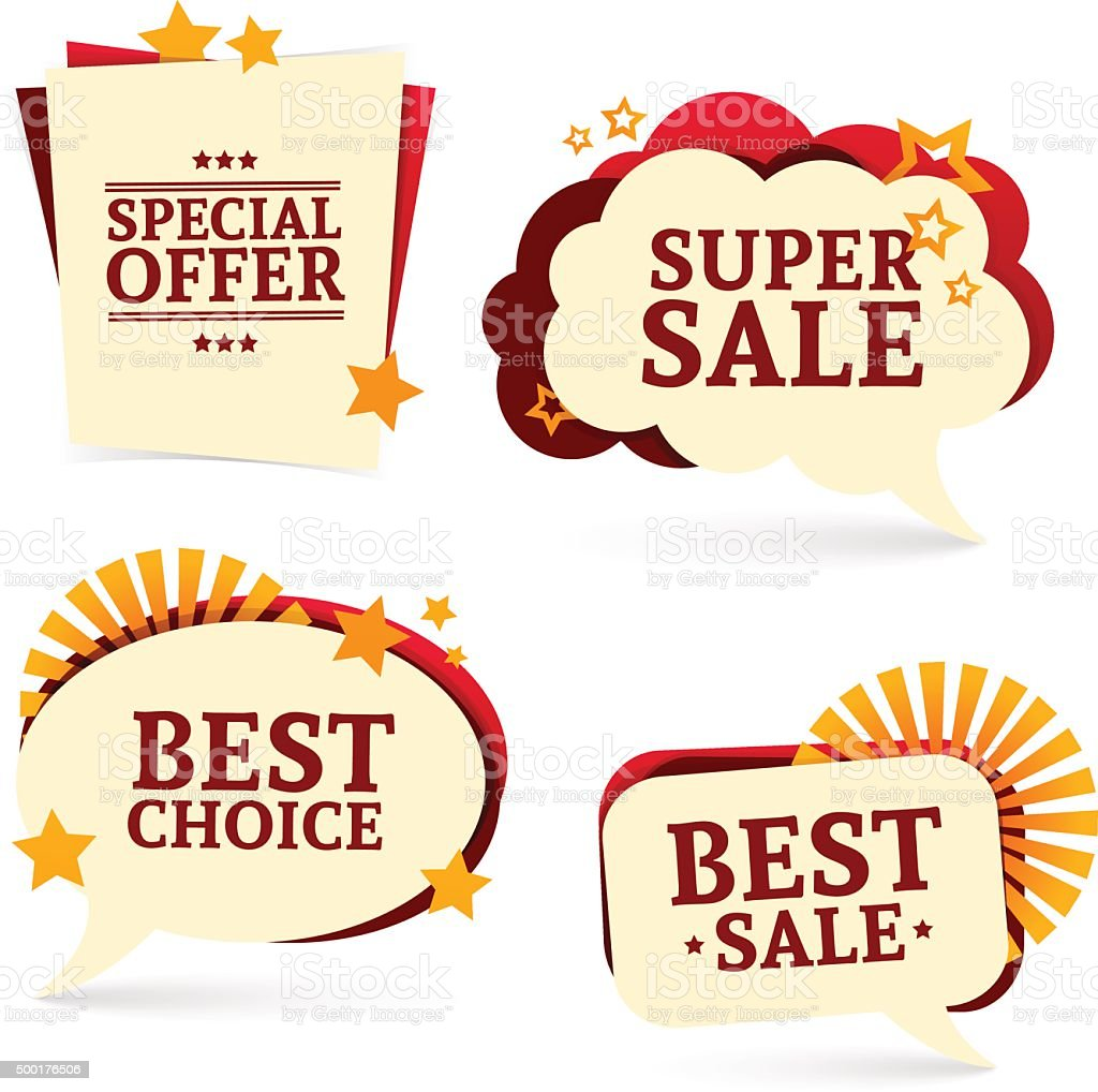 Set of bubbles. For promotion badges, tags for sale, offer. vector art illustration