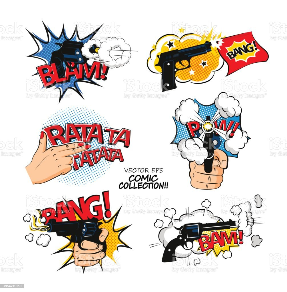 Set of bubbles speech, comic expression and speak onomatopoeia, bam and bang cloud, pow sound. Comic exclamation design in pop art style. vector art illustration