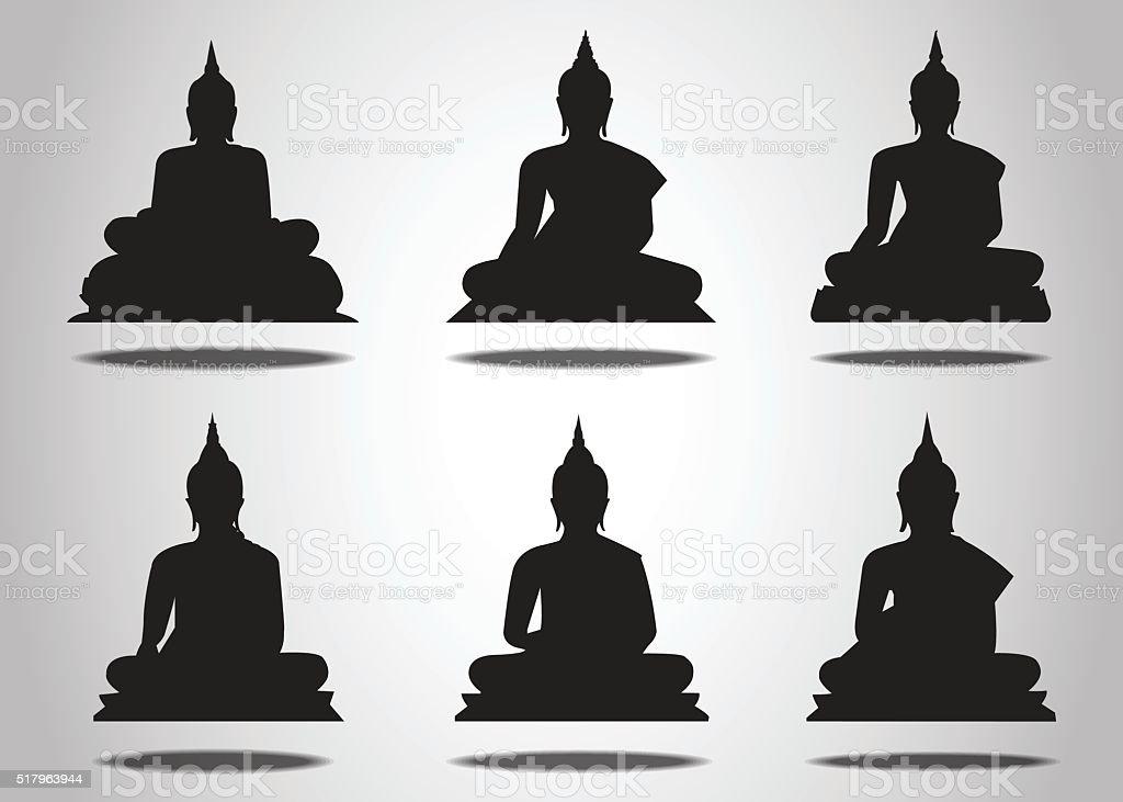 Ein Satz von Buddha-Silhouetten Weißer Hintergrund – Vektorgrafik