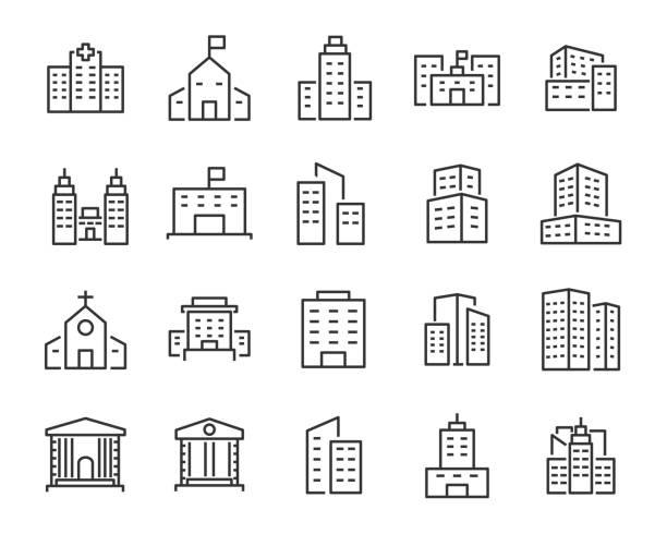 ilustraciones, imágenes clip art, dibujos animados e iconos de stock de conjunto de iconos de buiding, tales como ciudad, apartamento, condominio, ciudad - hospital
