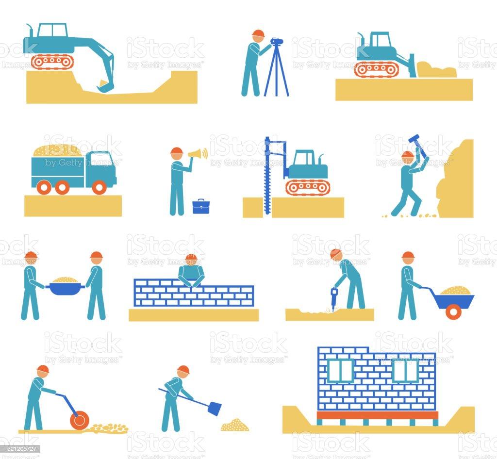 Set of builder construction industry icons vector art illustration