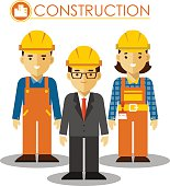 Builder manager, man and woman worker in protective wear and helmets in flat style