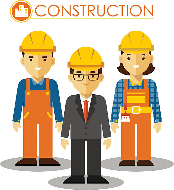 set of builder man and woman in flat style - construction worker stock illustrations, clip art, cartoons, & icons