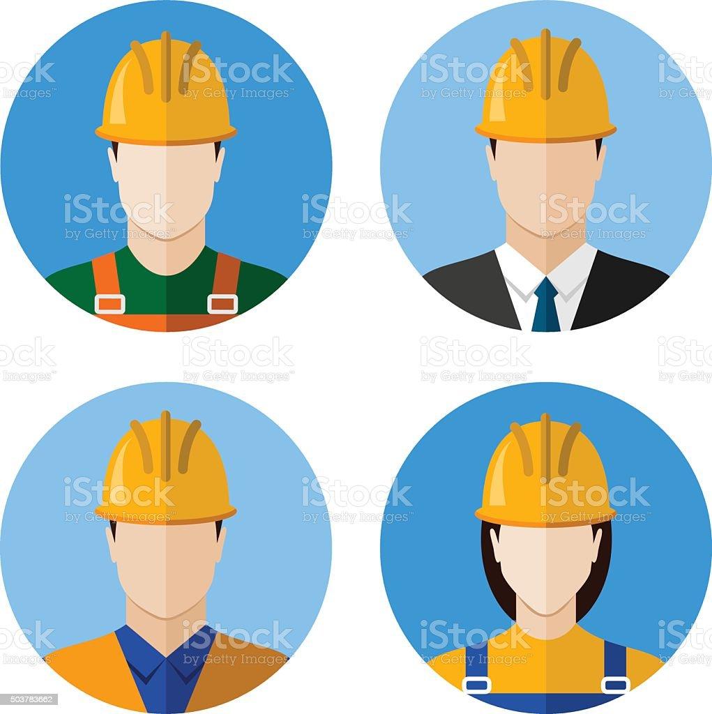 Set of builders avatars vector art illustration