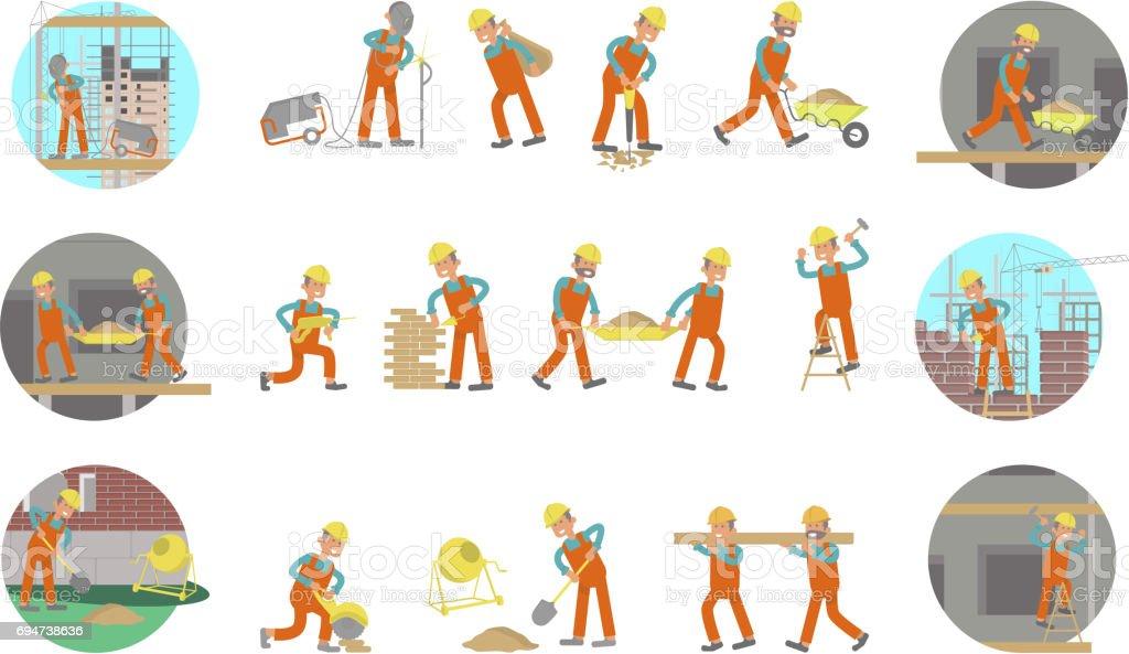 Ein Satz von builders – Vektorgrafik