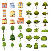 Set of buildings, bushes and plants of landscape elements for garden design, park, games and applications.