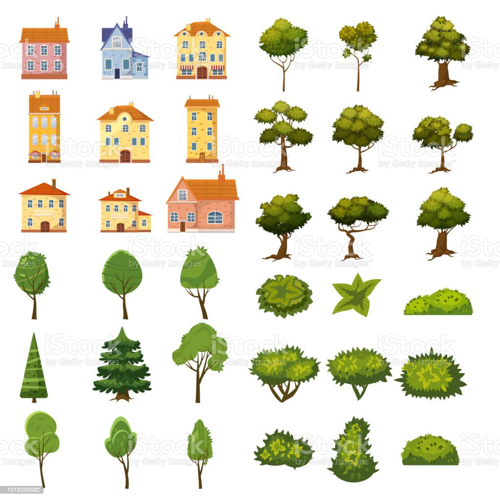 Set of buildings, bushes and trees of landscape elements for garden design, park, games and applications. Vector Graphics, cartoon style, isolated - illustrazione arte vettoriale