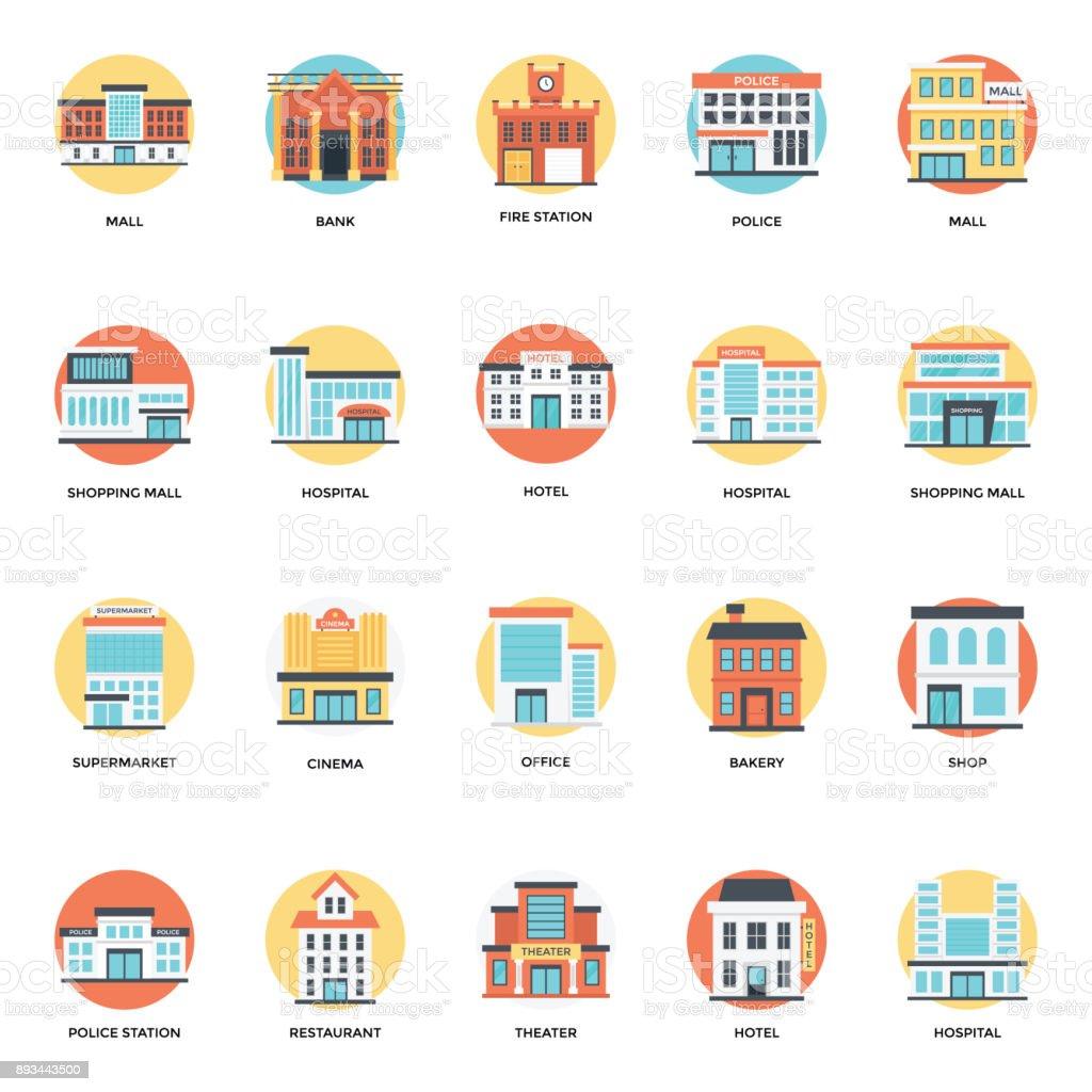 Set of Buildings Flat Icons vector art illustration