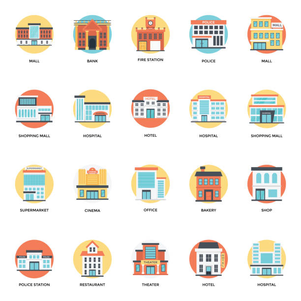 illustrations, cliparts, dessins animés et icônes de ensemble de bâtiments icônes plat - commissariat