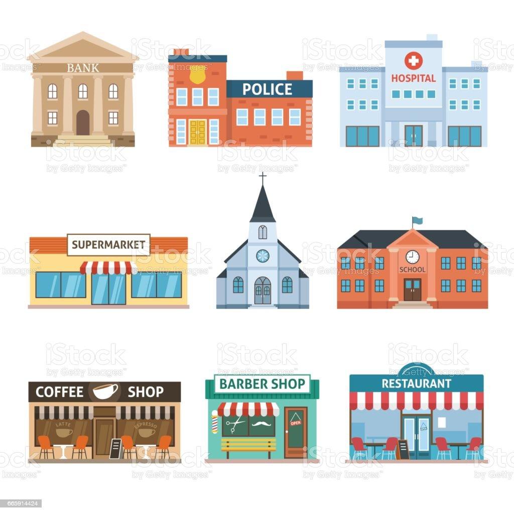 Set of Buildings vector art illustration