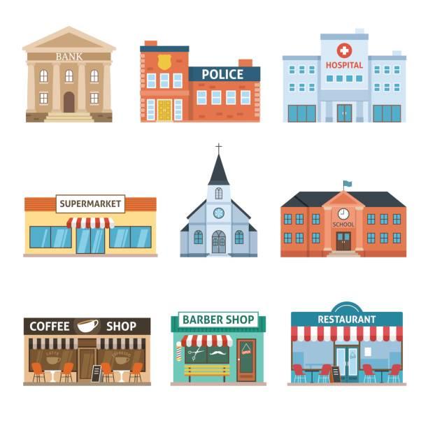 illustrations, cliparts, dessins animés et icônes de ensemble de bâtiments - commissariat