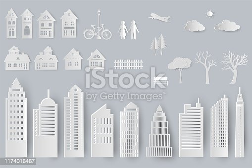 Set of buildings,houses,trees isolated objects for design in paper cut style,vector illustration