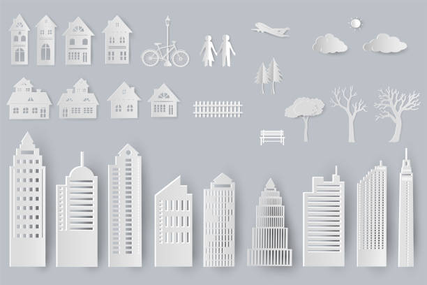 Set of buildings,houses,trees isolated objects for design in paper cut style Set of buildings,houses,trees isolated objects for design in paper cut style,vector illustration paper craft stock illustrations