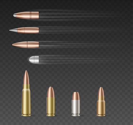 Set of bullets of different caliber over transparent background. 3d realistic bullets collection in motion. Military weapon concept. Vector illustration