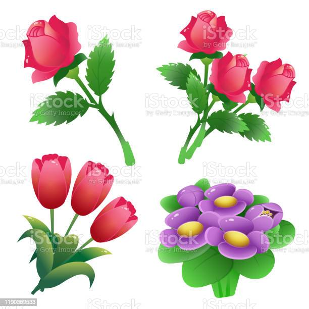 Set of bunches of flowers color images of scarlet roses tulips on vector id1190389533?b=1&k=6&m=1190389533&s=612x612&h=zorwhzxzqmlvlblm0aot4wjt4sx1gaox52er4o4t5pu=