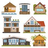 Rent house set. Modern apartments and suites, private cabins, wooden bungalows, chalet and country houses collection for booking and living. Europe cottages and homes bundle.
