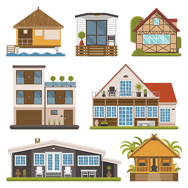 Set of Bungalows, Apartments and House for Rent Rent house set. Modern apartments and suites, private cabins, wooden bungalows, chalet and country houses collection for booking and living. Europe cottages and homes bundle. villa stock illustrations