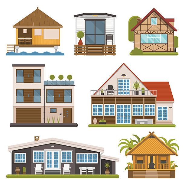ein satz von bungalows, wohnungen und haus zur miete - villas stock-grafiken, -clipart, -cartoons und -symbole