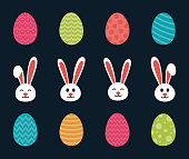 Set of bunny and egg icons - Easter symbols. Vector.