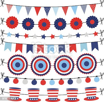 Set of bunting paper flags garlands. Party decorations, web banners in USA flag colors. Isolated vector illustrations, objects. Happy Independence day. 4th July national holiday design.