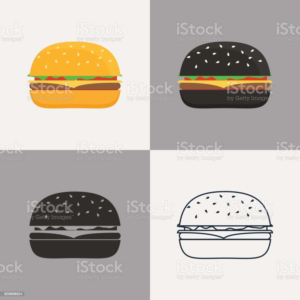 Ensemble d'icônes de burger - Illustration vectorielle