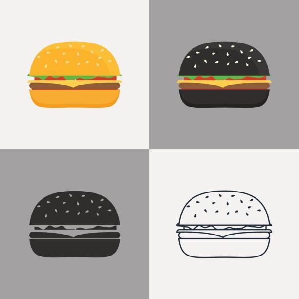 illustrazioni stock, clip art, cartoni animati e icone di tendenza di set of burger icons - hamburger