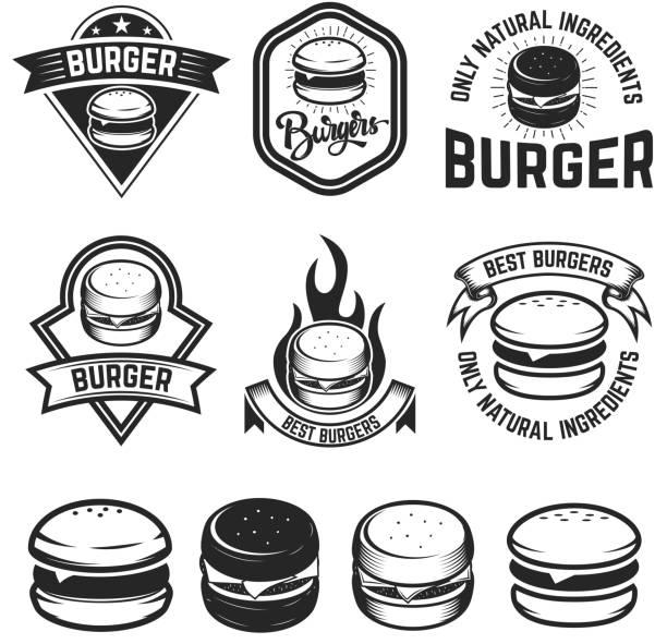 illustrations, cliparts, dessins animés et icônes de lot d'étiquettes de burger. éléments de conception pour emblème, signe, menu, affiche. illustration vectorielle - burger