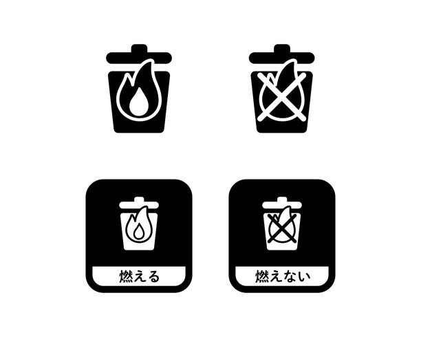 Set of burnable and non-burnable garbage icons Set of burnable and non-burnable garbage icons dumpster fire stock illustrations