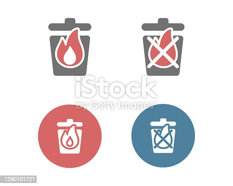 istock Set of burnable and non-burnable garbage icons 1260101721