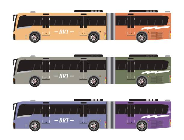 Set of Bus Rapid Transit or BRT Set of Bus Rapid Transit or BRT Vector ioslated in with background bus rapid transit stock illustrations