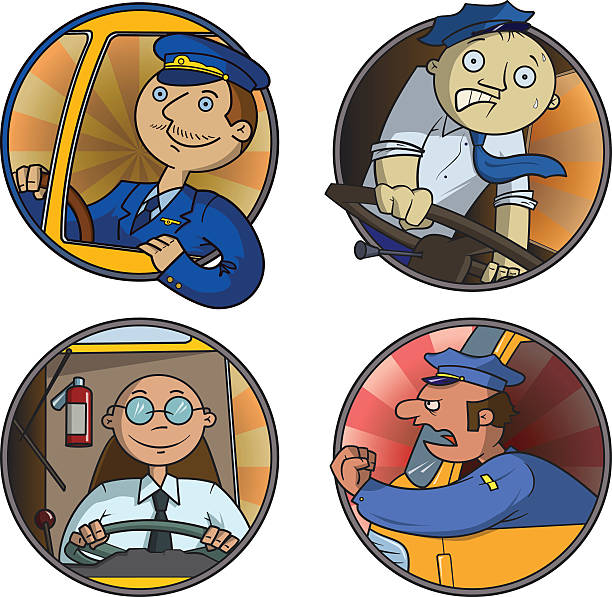 Set of busdrivers vector art illustration