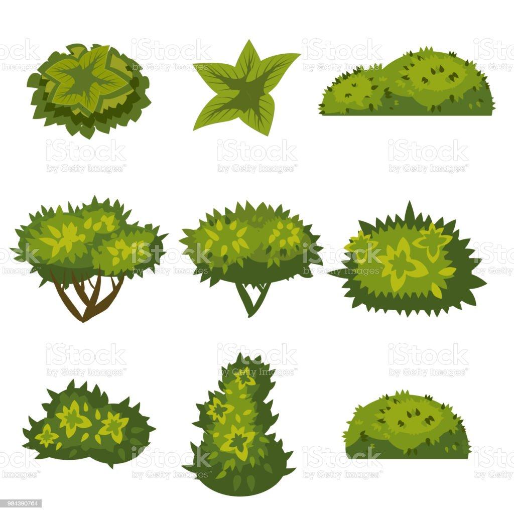 Conjunto de arbustos no estilo cartoon para a decoração em suas obras, grama em estilo cartoon, plantas verdes, vetor - ilustração de arte em vetor