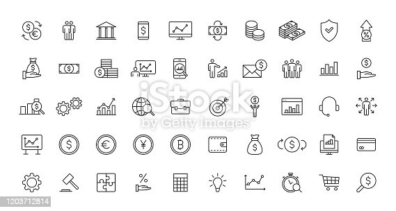 Set of Business and Finance web icons in line style. Money, dollar, infographic, banking. Vector illustration