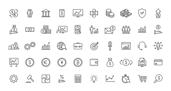 Set of Business and Finance web icons in line style. Money, dollar, infographic, banking. Vector illustration.