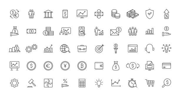一組業務和金融網站圖示在行樣式。錢,美元,資訊圖,銀行。向量插圖。 - money 幅插畫檔、美工圖案、卡通及圖標