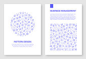 Set of Business and Management Icons Vector Pattern Design for Brochure,Annual Report,Book Cover.